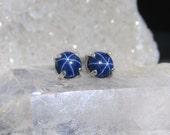 Star sapphire earrings, dark blue 6mm natural star sapphire earrings, genuine dark blue star sapphire studs in sterling silver