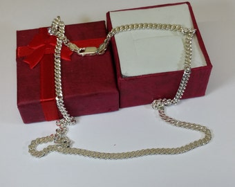 45 cm / 3.5 mm curb chain 925 Silver necklace HK204