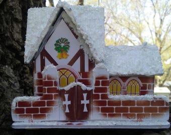 Glitter Putz house snow covered cardboard Christmas decoration winter village scene red faux brick miniature