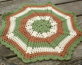 Vintage Handmade Brown Green and Beige Octagon Doily