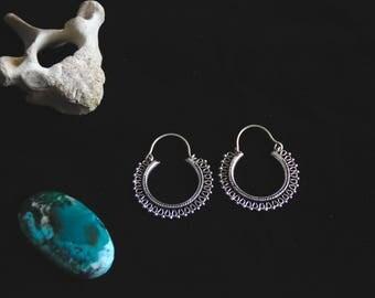White Brass Earrings - Ethnic - Boho - Pixies - Fairy - Design - Minimalist - Tribal - Spirit - Small Size