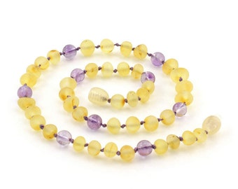 """Baltic Amber Teething Necklace, Raw Lemon mixed with Amethyst Gemstone Beads, Available in 11-14.9"""" Length, Baroque Baltic Amber Beads"""
