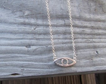 Evil Eye Necklace, Gold or Silver Eye necklace, Layering Necklace, Dainty Necklace