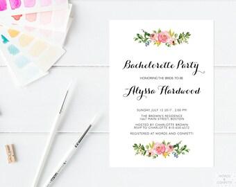Bachelorette Party Invitation Printable, Bachelorette Invitation, Elegant, Custom, Personalized, Floral, Watercolor, Download, PDF, JPEG