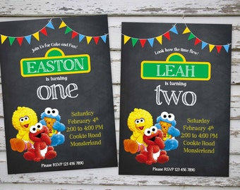Sesame Street Invitation, Baby Elmo Invitation, Sesame Street Baby Shower  Invite, Baby Cookie