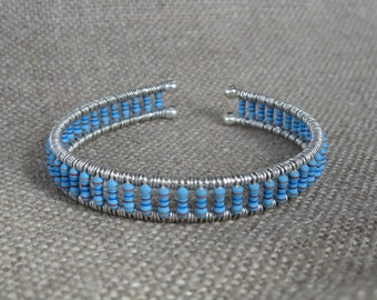 Blue Resistor Cuff Bracelet