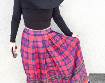 Vintage Skirt - Maxi Skirt Boho - 50s 60s Skirt - Long Skirts for Women - Festival Clothing - Tartan Plaid Skirt -Red Blue Mustard -Designer
