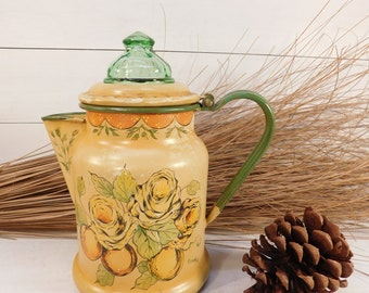 Vintage Enamel Flowers Coffee Percolator With Green Glass Lid, Farmhouse Chic