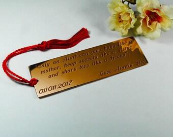 Gift for Niece, Niece Bookmark, Engraved Niece Gift, Customised Bookmark, Personalised Keepsake Gift, Niece Birthday Gift, Niece Card