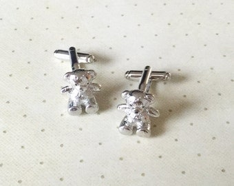Teddy Bear Cufflinks Cuff Links in Silver