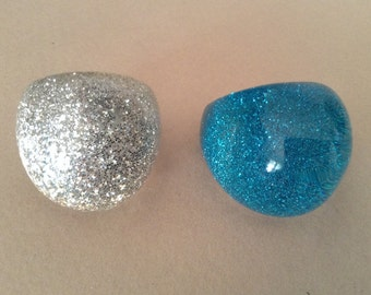 Two Lucite Bubble Sparkle Ring Sizes 7 1/4 and 6 1/2