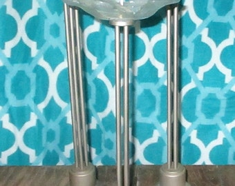 """Group Of 3 Platform Pricket Modernist Candlesticks Modern Art Glass Candle Stick Ice Flower Candle Holder Frosted Glass & Metal Trio 16"""""""