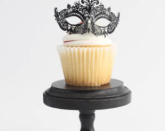 Laser Cut Metal Miniature Masquerade Mask, Cupcake Topper, Paris Decoration, Centerpiece, Black, Silver, Gold, Mini, overthetopcaketopper