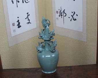 Contemporary Korean Celadon 9 Headed Dragon Vessel by the Internationall Recognized Shin Sang Ho