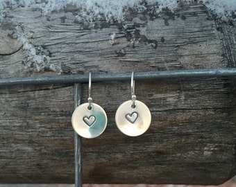 Sterling silver handmade drop earrings, hand stamped heart earrings, sterling silver earrings, sterling silver dangle earrings, gift for her
