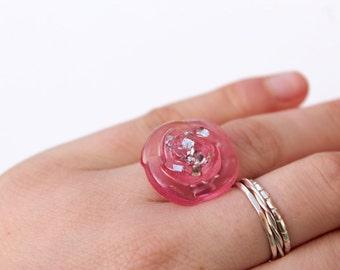 Pink Glitter Rose Ring - Resin Rose Ring - Resin Ring - Statement Ring - Adjustable Ring - Resin Jewellery
