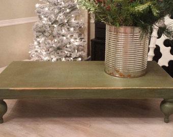 Rustic Green Wood Tray