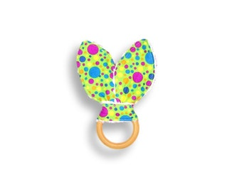 Natural Wooden Teething Ring <<Hot For Dots!>> ~ Baby/Teething Toy/Bunny Ears//Polka Dots//Purple//Pink//Green//Neon Green//Yellow//Blue