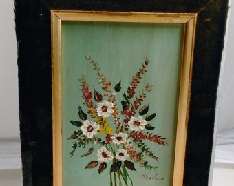"""Vintage Painting Of Bouquet Of Flowers With Green Background/Artist Signed But Can Not Identify/Picture 4"""" By 6"""" High/ See Details (P)"""