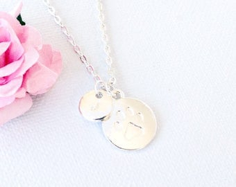 Silver pawprint necklace, pawprint necklace, dog necklace, cat necklace, puppy necklace, pawprint jewellery, pet necklace, SPPAIN0117