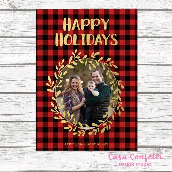 red buffalo plaid christmas holiday photo card gold foil wreath