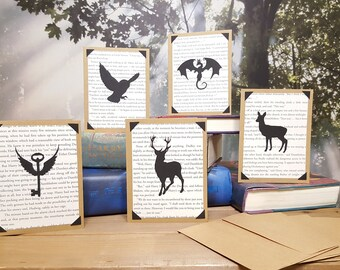 Free Shipping - Harry Potter Blank Greeting Cards with Real Book Pages and Silhouettes with Matching Envelopes - Sets of 5, 10, or 15