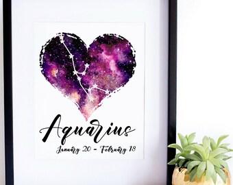 Aquarius printable wall art, home wall decor, nursery decor, space nursery decor, aquarius art, printable wall art, zodiac wall art