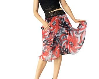 Red & Gray Chiffon Circle Tango Skirt
