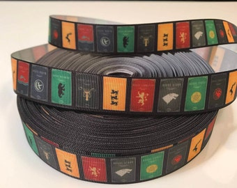 Game of Thrones Ribbon by the yard, Themed Ribbon, Grosgrain Ribbon, TV Show Ribbon, Game of Thrones