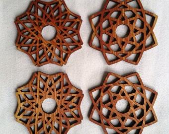 Geometric Wood Coasters, Laser Cut, Cedar