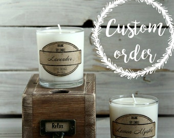 Custom oredr - Set of 2 Soy Candles Relax- Wooden Box - Lavender & Lemon Myrtle  - Aromatherapy - Essential Oils - Rustic Style