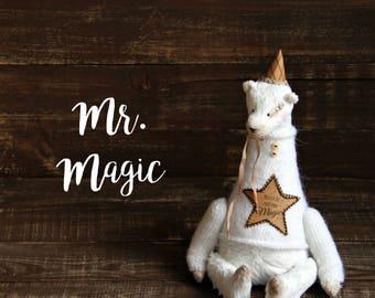 To order! Teddy Bear Mr.Magic Polar White Bear Handmade Toys Animals Nursery Decor - 8,5 Inch