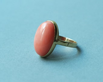 Antique Coral 18K Yellow Gold Ring // Angel Skin Coral Statement Ring