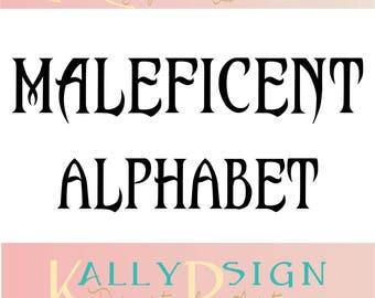 Maleficent SVG,  alphabet letters, svg fonts, monogram fonts, disney svg,disney princess,  disney alphabet, disney monogram svg,