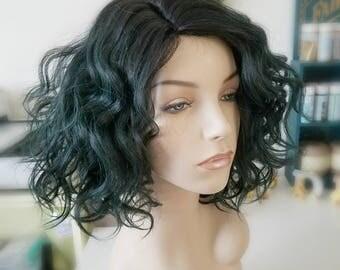 Green/black Synthetic & Human Hair wig, Loose wavy wig, Fairy Hair Wig, Photo Shoot wig, Photo Prop wig, Fantasy Hair, Mermaid hair