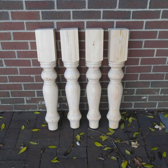 Unfinished Pine Farmhouse Dining Table Legs Wood Legs Turned