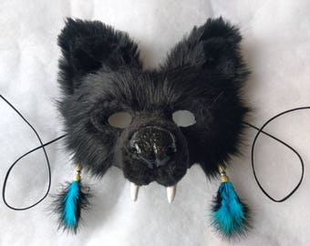 SOLD Spirit/Totem Animal (WOLF) Mask  (Black) AVAILABLE made to order