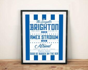 Brighton & Hove Albion print; Typographic football team poster