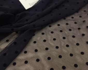 "Black spot tulle fabric - 47.2"" (120cm) wide - sold per metre, T00081"