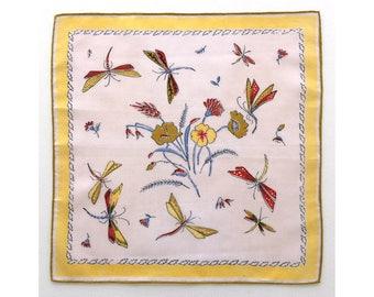 Dragonflies with flowers ladies' vintage handkerchief, hankie, hanky
