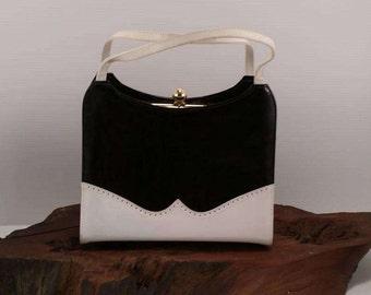 Black and White Simulated Leather Handbag, Black and White Handbag by Life Stride, Faux Leather Black and White Handbag With Gold Accents