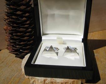 Snowy Mountain Alps Sterling Silver Cufflinks In Wooden Gift Box Wedding Groom Groomsmen