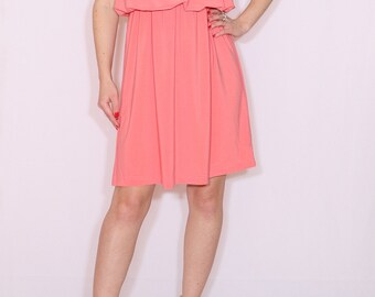 Short coral dress Bridesmaid dress Party dress Salmon dress