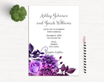 Purple wedding invitation template Lavender wedding invitation card Printable invitations romantic Unique floral invitations download 1W38