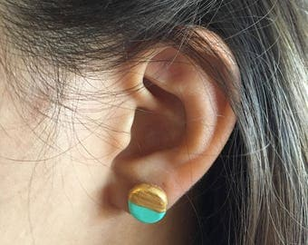 Teal/Gold Dipped Two-Tone Stud Earrings - Circle