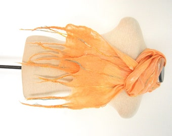 Peach Silk Scarf Nuno Felt Scarf Unique Handmade Nuno Felted Wrap Woman's Scarf Mother's Day Gift for Her Skinny Scarf Wearable Art Clothing
