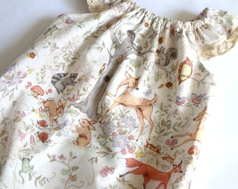 woodland baby romper, Summer dress, baby shower gift, baby girl clothes, newborn baby dress, coming home outfit, fox baby clothes,