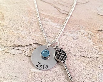 Tennis Necklace, Personalized Tennis Necklace, Custom Name Necklace, Tennis name necklace, Tennis coach gift, Team Gift