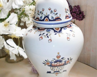 Vintage French large apothecary jar / / french apothecary jar / / Rouen / / sets ROUEN / / urn / Pot earthenware / / Earthenware