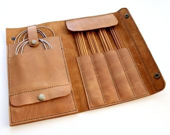 Leather needle case Handmade Knitting Needle Organizer Needles case Knit needles case Circular needles case Knitting organizer